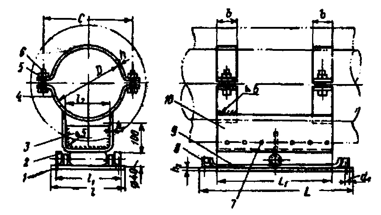 Роликовая односторонняя скользящая опора типа ОК-1