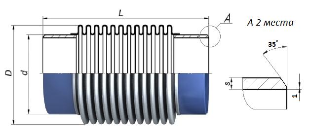 Схема сильфонного компенсатора КСО